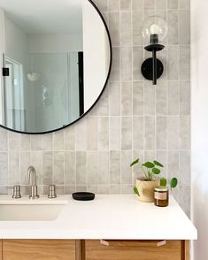 WHITE CLOE- one of our most asked questions is 'what is the difference between the white and grey Cloe' and these two… Laundry Room Bathroom, Master Bathroom, Cream Bathroom, Hall Bathroom, Ceramic Tile Bathrooms, Tub Enclosures, Master Bath Remodel, House Tiles, New Home Designs