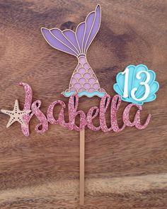 Cake topper tema sirena # - Bake a Cake 2019 Diy Birthday Banner, Diy Banner, Birthday Cake Toppers, 1st Birthday Parties, Birthday Decorations, Cake Birthday, Mermaid Birthday Cakes, Little Mermaid Birthday, Little Mermaid Parties