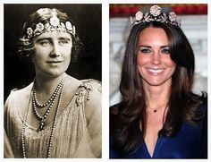 Queen Elizabeth the Queen Mother and the Duchess of Cambridge each wearing the Strathmore Rose Tiara. Description from pinterest.com. I searched for this on bing.com/images
