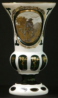 Antique Moser Glass | 1201: ANTIQUE MOSER GLASS PANEL CUT MANTLE VASE