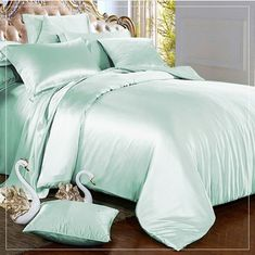 Relaxico Bedding Hotel Quality Silky Soft Luxurious Satin 4 Pc Sheet Set Wrinkle and Fade Resistant, Hypoallergenic Breathable Comfort Satin Bedding Set !Twin, Mint * You can find out more details at the link of the image. (This is an affiliate link) Satin Bedding, Green Comforter, Cheap Bed Sheets, Bed Linens Luxury, Mint Green Comforter, Bed, Grey Linen Bedding, Silk Duvet Cover, Luxury Bedding