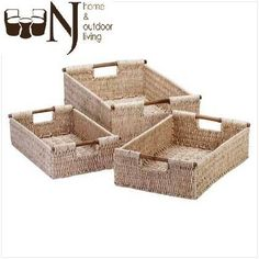Tightly woven #cornhusk baskets with lightweight bamboo handles are perfect for a variety of bath goods.   #Baskets #NestingBaskets #sale #decor #onlineshopping
