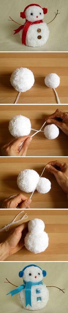 Muñeco de nieve hecho con bolas de lana / Pom Pom Snowman #winter #invierno