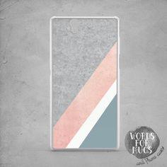 Geometric Sony Xperia Z5 case pink grey Xperia Z2 by DeWadaSTORE
