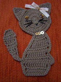 Cute crochet motifs with diagrams Marque-pages Au Crochet, Gato Crochet, Crochet Mignon, Crochet Motifs, Crochet Stitches, Crochet Baby, Free Crochet, Crochet Appliques, Applique Patterns