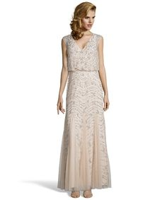 Aidan Mattox champagne sequined mesh blouson gown - $160 size 6