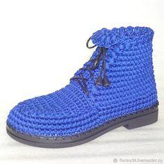 Ботинки вязаные со шнуровкой, синий,хлопок – купить или заказать в интернет-магазине на Ярмарке Мастеров | Ботинки связаны крючком плотным не…
