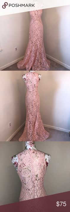 """All lace mermaid blush pink formal dress Made in USA All lace blush pink dress 100% polyester with lining and 61 inch length  Mannequin Measurements:  Shoulders: 15""""  Chest: 34""""  Waist: 26.7""""  Hip: 35.4"""" Xscape Dresses Wedding"""