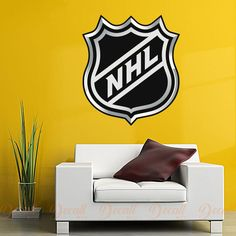Shop Hockey style wall stickers to add inspiration to your game room. Perfectly themed to decorate your gym or exercise room. Sports Wall, Sports Logo, Wall Stickers, Wall Decals, Nhl Logos, Home Sport, National Hockey League, Workout Rooms, Ice Hockey