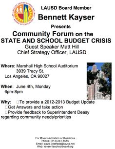A community forum to learn about the budget crisis @ LAUSD tonight.