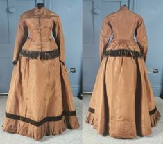 Copper Silk Early 1870s Bustle Day Dress - Victorian Antique Fashion | eBay