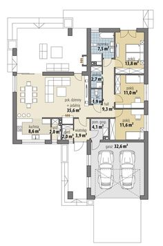Rzut FA OCEANIA CE House Plans Mansion, New House Plans, Dream House Plans, House Floor Plans, Circle House, Affordable House Plans, Three Bedroom House Plan, Modern Bungalow House, Beautiful House Plans