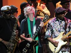 NEW YORK, NY - FEBRUARY 24: (EXCLUSIVE COVERAGE) Eddie Shaw, Keith Richards and Buddy Guy perform on stage during Howlin For Hubert: A Concert to Benefit the Jazz Foundation of America at The Apollo Theater on February 24, 2012 in New York City. (Photo by Kevin Mazur/WireImage) 2012 Kevin Mazur —