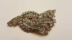 Vintage Art Deco RHINESTONE silver tone Brooch #vintage #jewelry #ebay