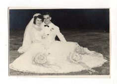 Vintage Photo Pretty Bride Groom Wedding Thank You Photo 1950's Jul | eBay