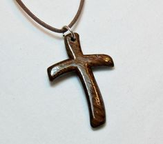 Necklaces for Men  Rustic Hand Carved Cross  Mens Jewelry by The Lotus Shop, $15.00