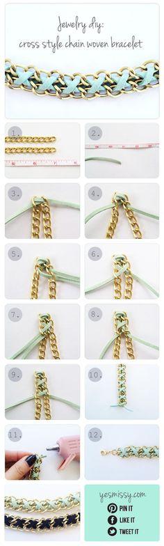 DIY Bracelet: Cross Style Chain Woven Bracelet @Hayley Sheldon Sheldon Sheldon Nerenberg