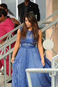 Kim Kardashian in Catherine Dean Gown at Biltmore Hotel in Miami - Love her hair