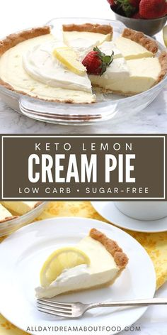 Tangy sweet deliciousness! This keto lemon pie will have your tastebuds singing. With a simple low carb press in pie crust and a rich sour cream filling, it's sugar-free pie happiness. Low Carb Sweets, Low Carb Desserts, Low Carb Recipes, Pie Recipes, Recipies, Healthy Recipes, Ketogenic Desserts, Keto Snacks, Ketogenic Diet