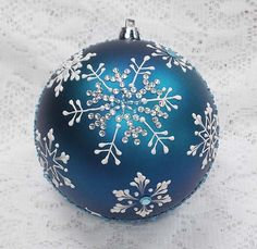Rich Blue 3D White Snowflakes MUD Ornament (L) with Snowflake Bling 363 by MargotTheMUDLady on Etsy SOLD!