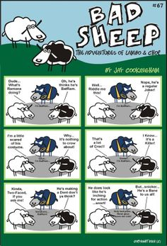 The legend of BatRam! Sheep Puns, Crow Costume, College Life, Bad Boys, Joker, Adventure, Humor, Superhero, Humour