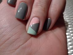 Grey nail polish with mint and pink accents on the ring finger...this was very difficult to do at home. I would need a salon to accomplish this for me.