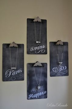 fun necklace display on clipboards for craft fair, craft show, market, bazaar