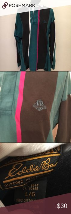 Vintage Eddie Bauer 80s color block long sleeve Vintage classic men's long sleeve collar with buttons shirt. Size large. Great 80s 90s colors. Girls this would be perfect with leggings. Has some color transfer on front of collar as shown. Buttons are rubbery. Vintage Tops Tees - Long Sleeve