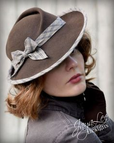 Tilt Hat in Rustic Brown and Green by Jaya Lee  This stunning 1930s style tilt hat was hand blocked on a refurbished antique millinery hat
