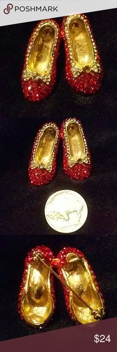 Red ruby slippers brooch We're not in Kansas anymore red ruby slippers brooch with red and clear crystals throughout very sparkly Jewelry Brooches