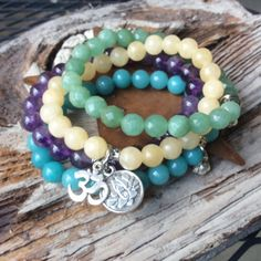 Multicolor gemstone bracelet stack by CatherineLilyJewelry on Etsy