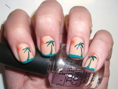sunbathe nail design pattern palms