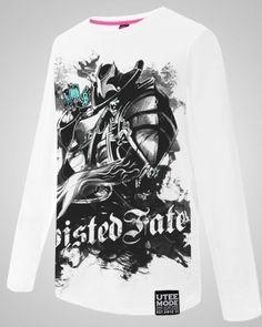 League of Legends Twisted Fate manga longa camisas lol herói The Master Card branco camiseta para homens-