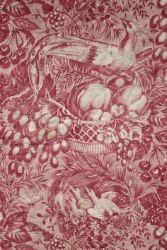 Antique French Toile de Alsace Bird Pink Printed Valance Pelmet Textile C1830 | eBay