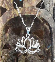 Blooming Lotus Necklace in Sterling Silver-Animals & Nature > Flower Necklaces-woot & hammy Om Necklace, Lotus Necklace, Lotus Jewelry, Yoga Jewelry, Necklaces, Sterling Silver Flowers, Sterling Silver Pendants, Silver Ring, Om Sign