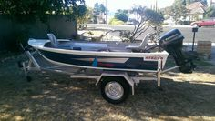 Stacer Gourame 3.4m aluminium boat tinny, 15hp Evinrude outboard & boat trailer