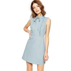 Find the best selection of ASOS TALL Frill Front Mini Shirt Dress. Shop today with free delivery and returns (Ts&Cs apply) with ASOS! Green Shirt Dress, Mini Shirt Dress, Dress With Bow, Lace Dress, Tulle Lace, White Dress, Day Dresses, Cute Dresses, Casual Dresses