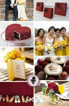 Burgundy and mustard wedding theme--very fall appropriate, and incorporates the shade of red Lindsay liked!