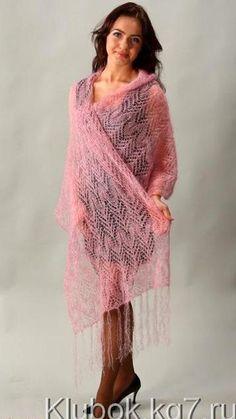 Розовый палантин спицами нежно-розовый