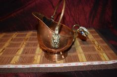 """Vintage Copper & Brass Coal Scuttle Lion Heads Delft Porcelain Handle 8""""x8"""""""