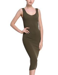 Rocorose Women's Low Crew Neck Sleeveless Bodycon Basic Midi Knitted Tank Dress ** This is an Amazon Affiliate link. Click image for more details.