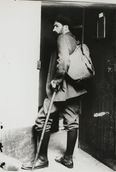 Brancusi in travel attire, 1904 -by unknown [Brancusi left Romania in 1904 for Paris, according to the legend he made it by foot: Budapest, Vienna, Munich, Zurich, Bassel…]