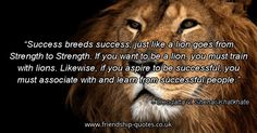 Success breeds success, just like a lion goes from Strength to Strength. If you want to be a lion, you must train with lions. Likewise, if you aspire to be successful, you must associate with and learn from successful people.. Image from www.friendship-quotes.co.uk