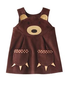 Brown Bear Girls Dress by wildthingsdresses on Etsy - Tabby Clothes - Little Dresses, Little Girl Dresses, Cute Dresses, Little Girls, Girls Dresses, Toddler Outfits, Kids Outfits, Baby Outfits, Sewing For Kids