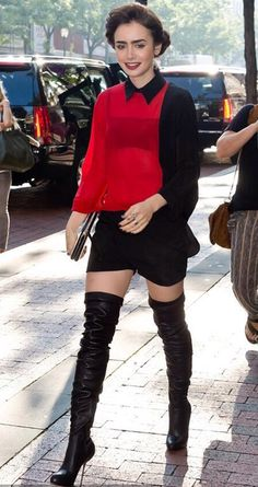 """Lily Collins and Jamie Campbell Bower visit Fox """"Good Day"""" Philadelphia morning show to promote """"The Mortal Instruments: City of Bones"""". Pictured: Lily Collins Re… Lily Collins, Black Thigh High Boots, Boating Outfit, Sexy Boots, Sandra Bullock, Thigh Highs, Her Style, Celeb Style, Lady"""