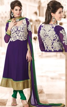 Fashion Purple Color Lovely Salwar Kameez