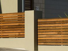 Front fence idea - can tell this is Australia Driveway Fence, Front Yard Fence, Backyard Fences, Interior Exterior, Exterior Design, Timber Fencing, Wood Fences, Fence Construction, Patio Railing