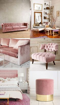 Pink velvet furniture is actually trending! I want one in my home! Now all I have to do is pick one