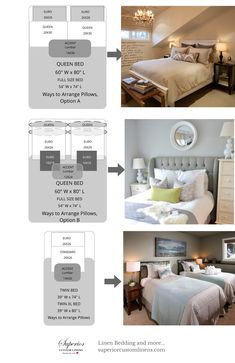 How to arrange pillows on queen size bed.