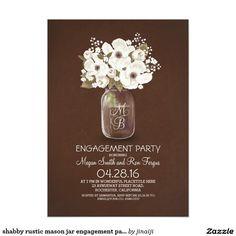 shabby rustic mason jar engagement party card